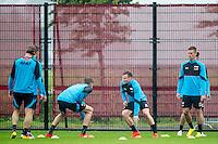 ALKMAAR - 27-07-2016, laatste training AZ voor Europese wedstrijd tegen Pas Giannina , AFAS Stadion, AZ speler Mats Seuntjens, AZ speler Mattias Johansson, AZ speler Markus Henriksen.