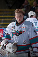 KELOWNA, CANADA - FEBRUARY 5: Brodan Salmond #31 of Kelowna Rockets stands at the bench against the Spokane Chiefson February 5, 2016 at Prospera Place in Kelowna, British Columbia, Canada.  (Photo by Marissa Baecker/Shoot the Breeze)  *** Local Caption *** Brodan Salmond;