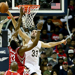 Jan 25, 2016; New Orleans, LA, USA; New Orleans Pelicans forward Ryan Anderson (33) blocks a shot by Houston Rockets guard James Harden (13) during the second half of a game at the Smoothie King Center. The Rockets defeated the Pelicans 112-111. Mandatory Credit: Derick E. Hingle-USA TODAY Sports