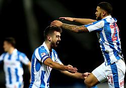 Tommy Smith of Huddersfield Town celebrates with Nahki Wells of Huddersfield Town after scoring a goal - Mandatory by-line: Robbie Stephenson/JMP - 02/02/2017 - FOOTBALL - John Smith's Stadium - Huddersfield, England - Huddersfield Town v Brighton and Hove Albion - Sky Bet Championship
