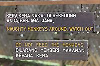 Warning sign 'Do Not Feed the Monkeys', Bako National Park, Sarawak, Malaysia