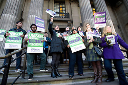 © Licensed to London News Pictures. 30/11/2011. London, UK. Workers and members of Unison form a picket line of the steps of Westminster Council House today (30/11/2011) as part of national public sector strikes. Up to two million public sector workers are staging a strike over pensions in what is set to be the biggest walkout for a generation.  Ben Cawthra/LNP