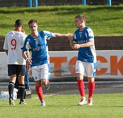 Cowdenbeath's Greg Stewart celebrates after scoring their goal (right).<br /> Cowdenbeath 1 v 0 Falkirk, 14/9/2013.<br /> &copy;Michael Schofield.
