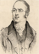 William Buckland (1784-1856) British geologist and clergyman. Buckland tried to reconcile the date of the Creation at 4004 BC with new geological discoveries.  Buckland in 1844 when he was appointed Dean of Westminster. Wood engraving from 'The Illustrated London News' (London, 22 November 1845).