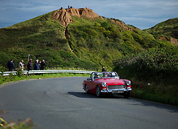 &copy; Licensed to London News Pictures. <br /> 10/09/2017 <br /> Saltburn by the Sea, UK.  <br /> <br /> An entrant drives his Triumph up the hill during the annual Saltburn by the Sea Historic Gathering and Hill Climb event. Organised by Middlesbrough and District Motor Club the event brings together owners of a wide range of classic cars and motorcycles dating from the early 1900's to 1975. Participants take part in a hill climb to test their machines up a steep hill near the town. Once held as a competitive gathering a change in road regulations forced the hill climb to become a non-competitive event.<br /> <br /> Photo credit: Ian Forsyth/LNP