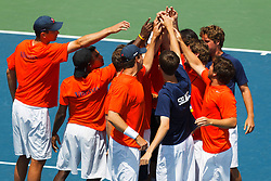 May 23, 2011; Stanford, CA, USA;  The Virginia Cavaliers mens tennis team huddles before the semifinals of the men's team 2011 NCAA Tennis Championships against the Ohio State Buckeyes at the Taube Family Tennis Center.