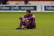 Brighton U18 goalkeeper Robert Lynch Sanchez  after losing penalty shoot out during the FA Youth Cup match between U18 Nottingham Forest and U18 Brighton at the City Ground, Nottingham, England on 10 December 2015. Photo by Simon Davies.