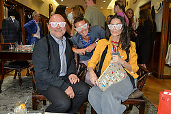 Left to right, ERIC BUTERBAUGH, GRAY MALIN and DEMI MOORE at a private view of photographs by Gray Malin 'Beaches' held at Huntsman, 11Savile Row, London on 20th June 2016.
