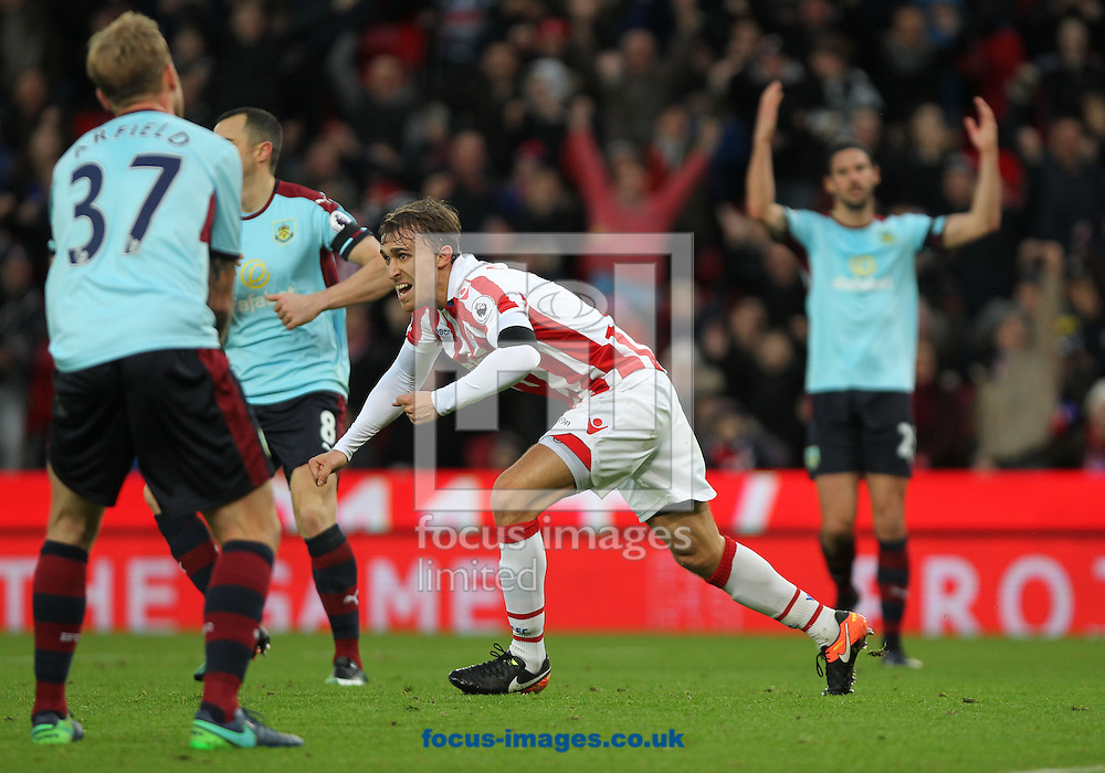 Marc Muniesa of Stoke City celebrate after scoring the second goal against Burnley during the Premier League match at the Bet 365 Stadium, Stoke-on-Trent.<br /> Picture by Michael Sedgwick/Focus Images Ltd +44 7900 363072<br /> 03/12/2016