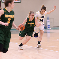 5th year guard Sara Hubenig (7) of the Regina Cougars in action during the Women's Basketball home game on January  20 at Centre for Kinesiology, Health and Sport. Credit: /Arthur Images