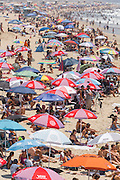 holiday makers on the Huntington Beach, California
