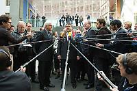 """15 MAY 2012, BERLIN/GERMANY:<br /> Frank-Walter Steinmeier (L), SPD Fraktionsvorsitzender, Sigmar Gabriel (M), SPD Parteivorsitzender, Peer Steinbrueck (R), SPD, Bundesminister a.D., beantworten nach der Pressekonferenz zum Thema """" Der Weg aus der Krise – Wachstum und Beschäftigung in Europa"""" noch weitere Fragen von Journalisten, Bundespressekonferenz<br /> IMAGE: 20120515-01-093<br /> KEYWORDS: Peer Steinbrück, Mikrofon, microphone"""