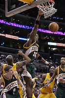 25 January 2005: Danny Fortson completes a layup as the Seattle Supersonics defeat the Los Angeles Lakers 104-93 at the Staples Center in Los Angeles, CA