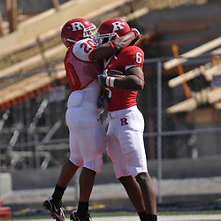 Apr 18, 2009; Piscataway, NJ, USA; Rutgers RB Ben Boursiquot (20) celebrates with WR Mohamed Sanu (6) after Sanu's second half touchdown run in Rutgers' Scarlet and White spring football scrimmage.