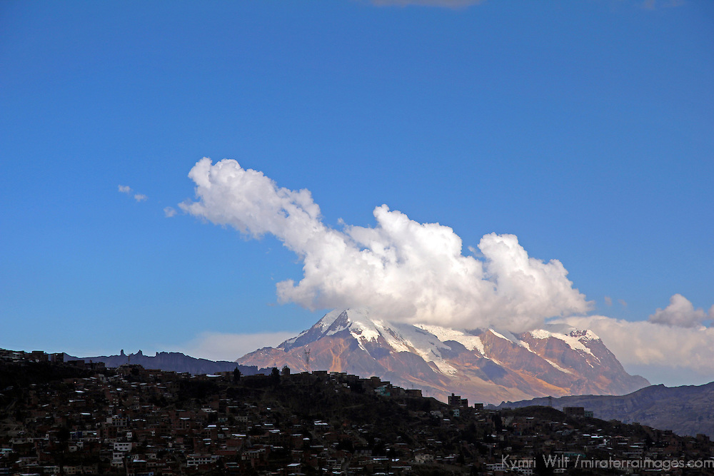 South America, Bolivia, La Paz. Illimani peak overlooking La Paz.