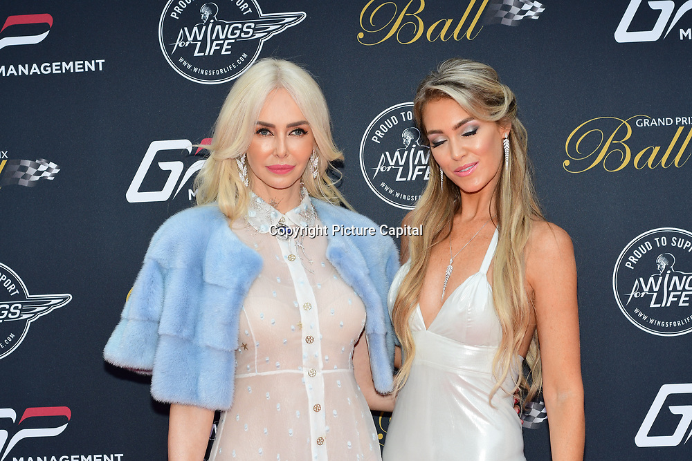 Amanda Cronin and Cassandra Dodge attends the 2018 Grand Prix Ball held at The Hurlingham Club on July 4, 2018 in London, England.