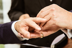 Detail of two men's hands as they get married