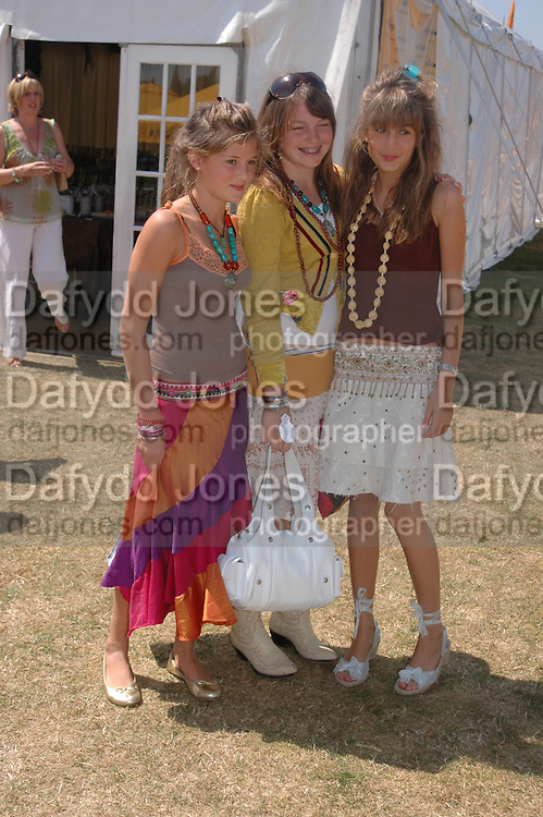 Emily Lewis,  Catriona Pearson and Lily Lewis. Veuve Clicquot Gold Cup Final at Cowdray Park. Midhurst. 17 July 2005. ONE TIME USE ONLY - DO NOT ARCHIVE  © Copyright Photograph by Dafydd Jones 66 Stockwell Park Rd. London SW9 0DA Tel 020 7733 0108 www.dafjones.com