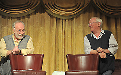 Brian Keenan and Robert Fisk at the Rolling Sun Book Festival in Westport on saturday night last.<br /> Pic Conor McKeown