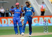 Lasith Malinga celebrates his wicket during the ICC Cricket World Cup match between Afghanistan and Sri Lanka at university oval in Dunedin, New Zealand. Photo: Richard Hood/photosport.co.nz