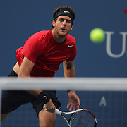 Juan Martin Del Potro, Argentina, in action against Andy Roddick, USA, during the US Open Tennis Tournament, Flushing, New York. USA. 5th September 2012. Photo Tim Clayton