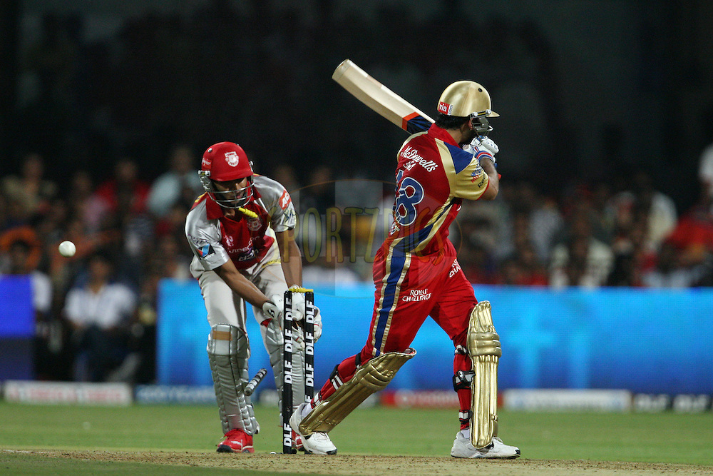 Virat Kohli is bowled during match 44 of the the Indian Premier League ( IPL) 2012  between The Royal Challengers Bangalore and the Kings XI Punjab held at the M. Chinnaswamy Stadium, Bengaluru on the 2nd May 2012..Photo by Ron Gaunt/IPL/SPORTZPICS