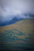 Slievanea mountain, shrouded by cloud, near the Connor Pass, Dingle Peninsula, Kerry, Ireland