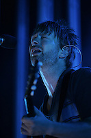 Thom Yorke, Lead singer of the group Radiohead performs with the band at the Comcast Center in Mansfield, Massachusetts on August 13, 2008. Photo by Matthew Healey