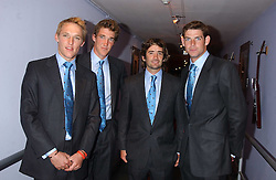 Left to right, the England polo team LUKE TOMLINSON, MARK TOMLINSON, HENRY BRETT and MALCOLM BORWICK at a polo players party hosted by AJM International Publishing and Cartier celebrating the 21st anniversary of the Cartier International Polo held at The Collection, London SW3 on 19th July 2005.<br /><br />NON EXCLUSIVE - WORLD RIGHTS