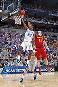 Marquis Teague #25 of the Kentucky Wildcats drives for a basket against Scott Christopherson #11 of the Iowa State Cyclones during the third round of the NCAA men's basketball championship on March 17, 2012 at KFC Yum! Center in Louisville, Kentucky. Kentucky advanced with an 87-71 win. (Photo by Joe Robbins)