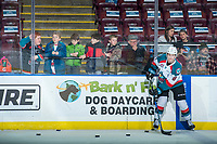 KELOWNA, CANADA - FEBRUARY 17:  Jack Cowell #8 of the Kelowna Rockets warms up with the puck in front of young fans against the Edmonton Oil Kings on February 17, 2018 at Prospera Place in Kelowna, British Columbia, Canada.  (Photo by Marissa Baecker/Shoot the Breeze)  *** Local Caption ***