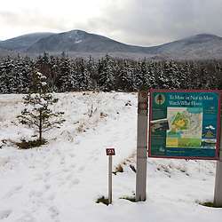A informational kiosk on the grounds of the Appalachian Mountain Club's Highland Center in Crawford Notch