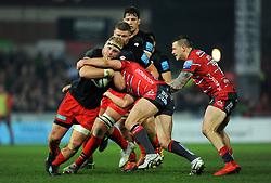Vincent Koch of Saracens is tackles by Willi Heinz of Gloucester Rugby- Mandatory by-line: Nizaam Jones/JMP - 22/02/2019 - RUGBY - Kingsholm - Gloucester, England- Gloucester Rugby v Saracens - Gallagher Premiership Rugby