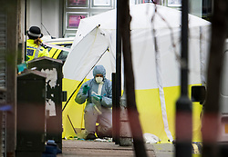 © Licensed to London News Pictures. 10/02/2019. London, UK. Police forensics work in a tent covering the body, at the scene on Lordship Lane in East Dulwich, south London where a man, believed to be in his 30's, was stabbed to death in the early hours of this morning. Photo credit: Ben Cawthra/LNP