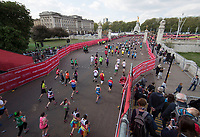 Competitors pass under a bridge with 385 yards to go near to Buckingham Palace. The Virgin Money London Marathon, 23rd April 2017.<br /> <br /> Photo: Jed Leicester for Virgin Money London Marathon<br /> <br /> For further information: media@londonmarathonevents.co.uk
