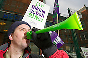 Neil Bycroft, Porter at St James University Hospital.  Unison members on the TUC Day of Action 30th November, Leeds.
