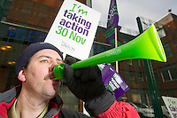 Neil Bycroft, Porter at St James University Hospital.  Unison members on the TUC Day of Action 30th November, Leeds..© Martin Jenkinson, tel 0114 258 6808 mobile 07831 189363 email martin@pressphotos.co.uk. Copyright Designs & Patents Act 1988, moral rights asserted credit required. No part of this photo to be stored, reproduced, manipulated or transmitted to third parties by any means without prior written permission