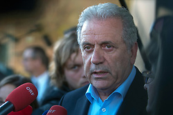 Licensed to London News Pictures. 06/11/2015. Spielfeld, Austria. Migrant crisis at the border crossing between Austria and Slovenia. Press Conference - Dimitris Avramopoulos, Member of the EC in charge of Migration, Home Affairs and Citizenship. Photo: Marko Vanovsek/LNP