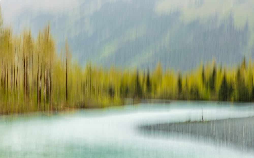 In-camera motion blur of Portage Creek in the Chugach National Forest in Southcentral Alaska. Spring. Afternoon.