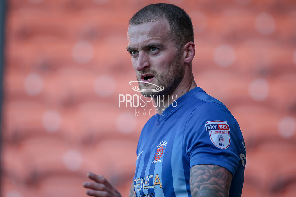 Lewis Alessandra (Hartlepool United), scorer of his side's only goal of the game, about to take a corner during the EFL Sky Bet League 2 match between Blackpool and Hartlepool United at Bloomfield Road, Blackpool, England on 25 March 2017. Photo by Mark P Doherty.