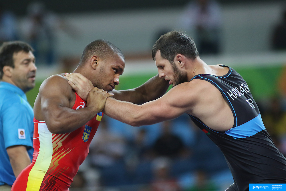 Wrestling - Olympics: Day 10   Zhan Beleniuk, (left), Ukraine, in action against Javid Hamzatau, Belarus, in the Semi Finals of the Men's Greco-Roman 85 kg at the Carioca Arena 2 on August 15, 2016 in Rio de Janeiro, Brazil. (Photo by Tim Clayton/Corbis via Getty Images)