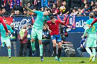 FC Barcelona's Sergio Busquets , Club Atletico Osasuna's Oriol Riera during the match of La Liga between Club Atletico Osasuna and Futbol Club Barcelona at Sadar Stadium in Pamplnoa , Spain. December 10, 2016. (ALTERPHOTOS/Rodrigo Jimenez)