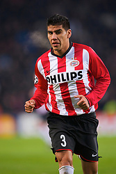 EINDHOVEN, THE NETHERLANDS - Tuesday, December 9, 2008: PSV Eindhoven's Carlos Salcido in action against Liverpool during the final UEFA Champions League Group D match at the Philips Stadium. (Photo by David Rawcliffe/Propaganda)