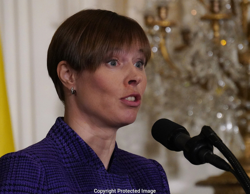 President Kersti Kaljulaid of Estonia;participates in a press conference with leaders of the Baltic states on April 3, 2018.  <br />
