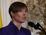 President Kersti Kaljulaid of Estonia;participates in a press conference with leaders of the Baltic states on April 3, 2018.  <br /> Photo by Dennis Brack