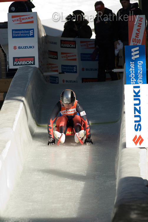Veronika Halder from Austria competes in the Luge World Cup  in Whistler, BC on Feb 20, 2009