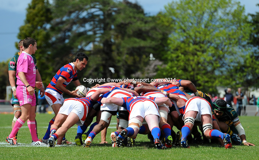 Buller and Mid-Canterbury packs scrum during the Heartland Championship Meads Cup Final - Buller v Mid Canterbury. Victoria Square, Westport, New Zealand. Saturday 25 October 2014. Photo: Chris Symes/www.photosport.co.nz