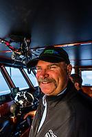 Ship captain, Wilderness Explorer small cruise ship, Sitka Sound,  Inside Passage, near Sitka, Alaska USA.
