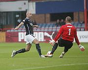 Peterhead's Graeme Smith denies Dundee's Gary Harkins - Dundee v Peterhead, League Cup at Dens Park<br /> <br />  - &copy; David Young - www.davidyoungphoto.co.uk - email: davidyoungphoto@gmail.com