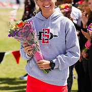 23 March 2018: San Diego State senior Lily Seynaeve is recognized during a seniors ceremony at  the final day of the 43rd annual Aztec Invitational.<br /> More game action at sdsuaztecphotos.com